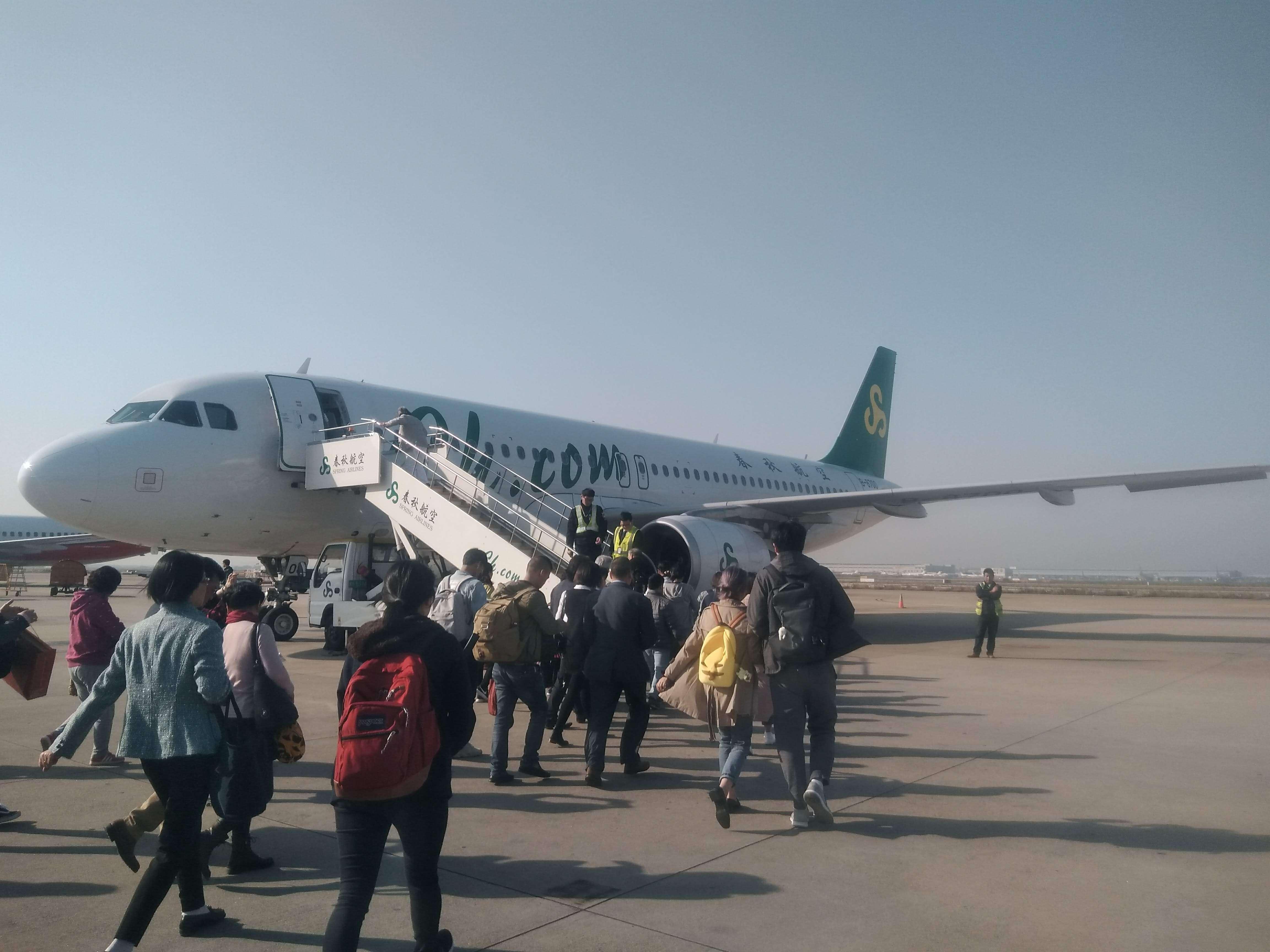 中国の春秋航空の国際線の飛行機